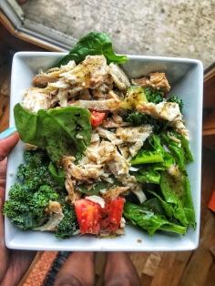spinach, kale, and turkey tenderloin salad